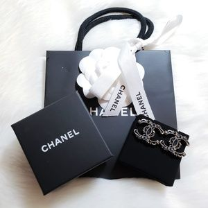 Authentic CHANEL CC Silver Crystal Earrings